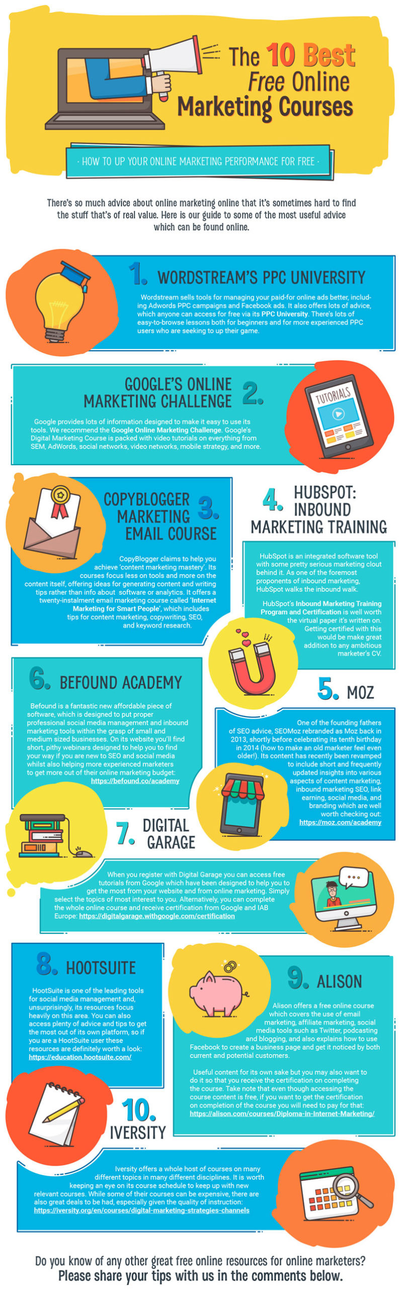 best online marketing courses infographic