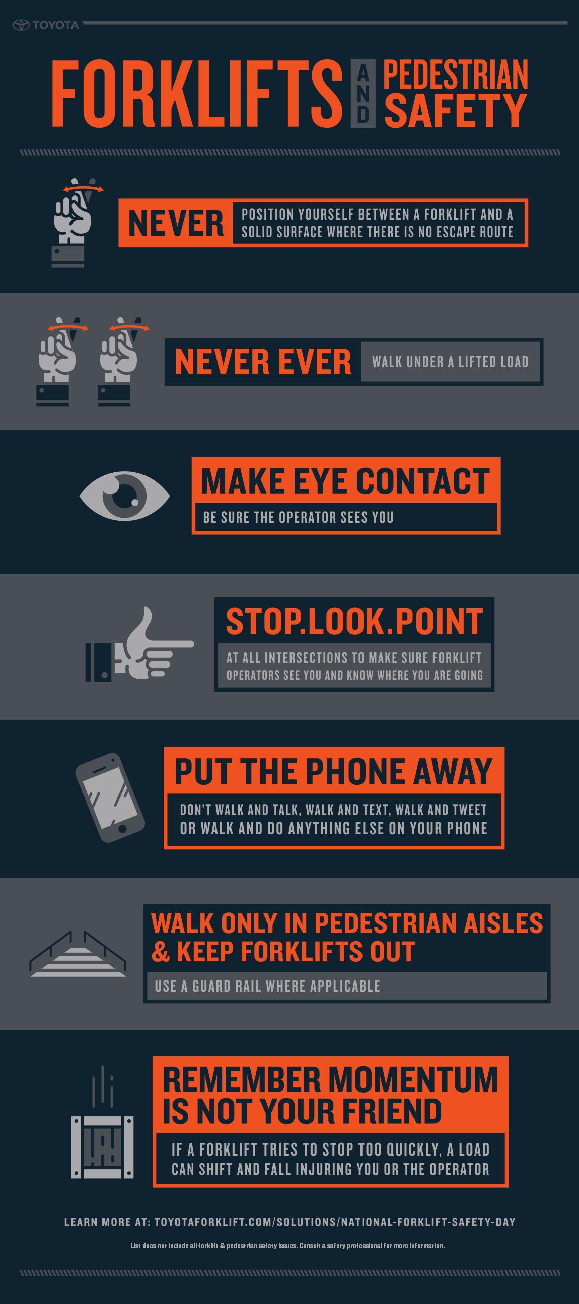 warehouse forklift pedestrian safety infographic