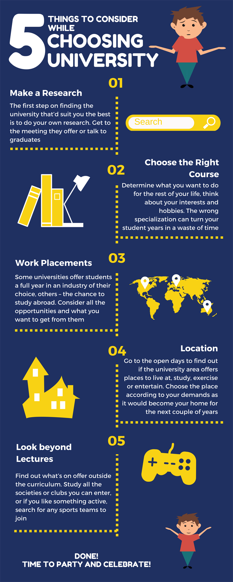 things consider while choosing university infographic
