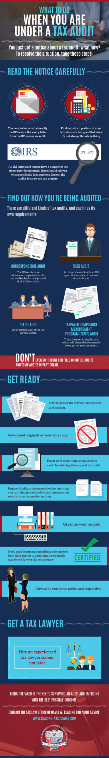 what to do when you are under a tax audit infographic