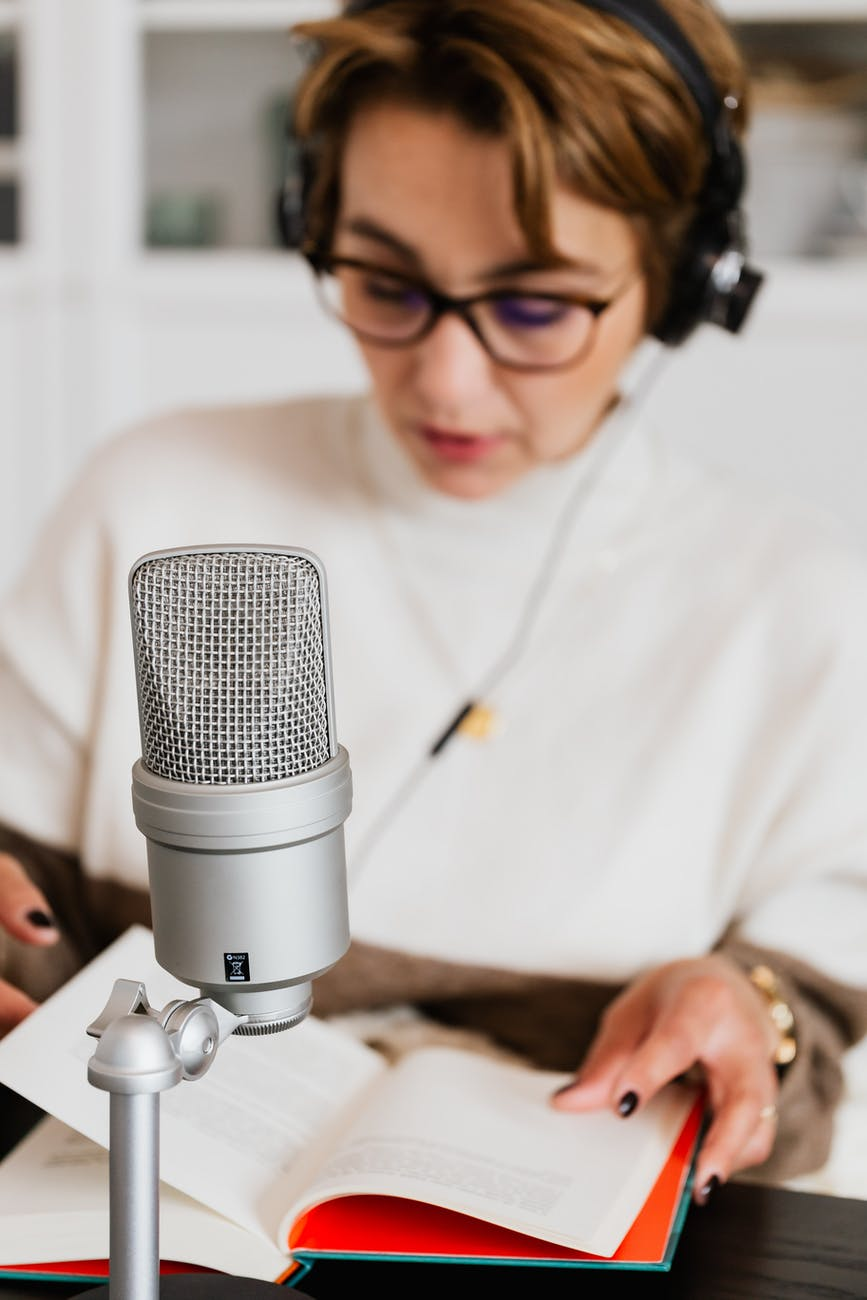 She is doing podcasting